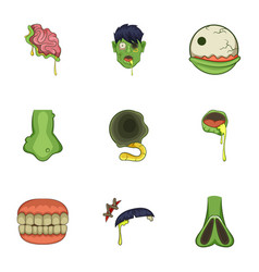 Zombie icons set cartoon style vector