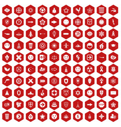 100 emblem icons hexagon red vector