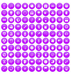 100 science icons set purple vector