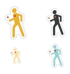 Set of paper stickers on white background man in vector