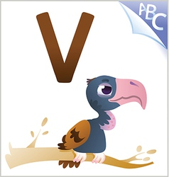 Animal alphabet for the kids v for the vulture vector