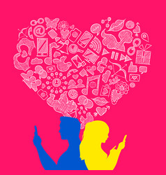 Valentines day young love internet icon concept vector