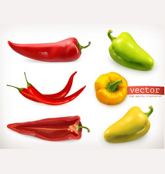 Pepper vegetable 3d icon set vector