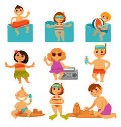 Children relaxing in pool and sand colorful poster vector