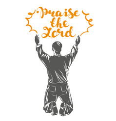 Man worships god symbol of christianity hand drawn vector