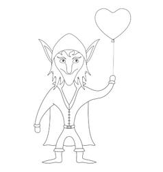 Elf with heart balloon contour vector image