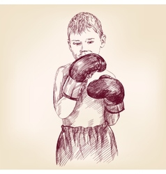 Boy boxer - hand drawn llustration realistic vector