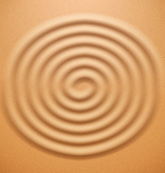 Ripple spiral drawing on the sand vector