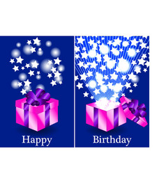 Purple and pink happy birthday gifts vector