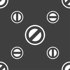 Cancel icon sign seamless pattern on a gray vector