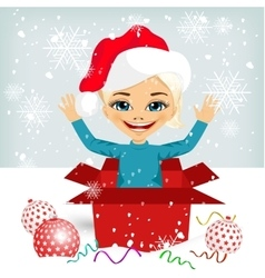 Girl coming out of inside christmas gift box vector
