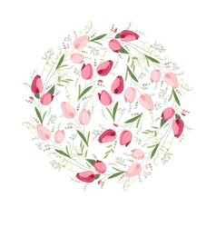 Floral spring template with cute bunches of tulips vector