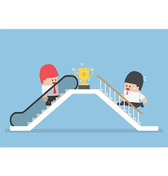 Businessman who use escalator to success vector