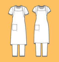 T-shirt apron and pants set vector