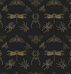 Gold and black insects seamless pattern vector image