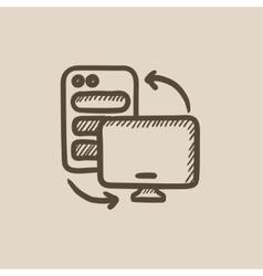 Personal computer set sketch icon vector