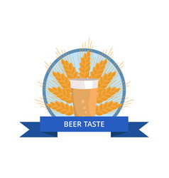 beer taste logo pint of dark beverage ear of wheat vector image
