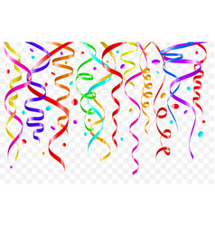 birthday white background with curling streamers vector image vector image