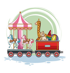 Carrousel and kids toys on train vector