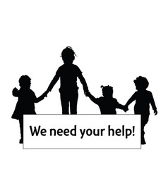 children silhouette with transparent need help vector image vector image