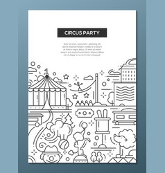Circus carnival party line design composition vector image vector image