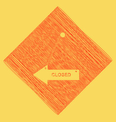 Closed sign red scribble vector