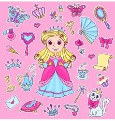 Cute princess sticker set vector image