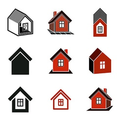 Different houses icons for use in graphic design vector image vector image