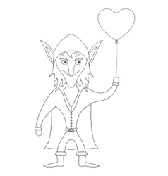 Elf with heart balloon contour vector