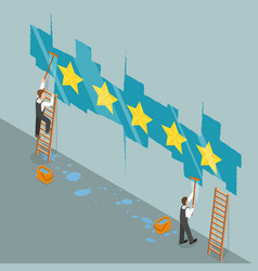 Five star rating flat isometric concept vector