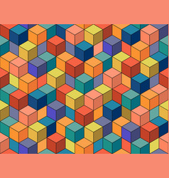 Geometric colorful seamless pattern mosaic cubes vector