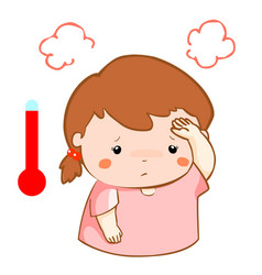 Girl got fever high temperature cartoon vector