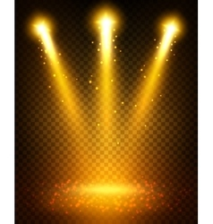Golden spot light beams projection on floor vector image vector image