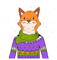 Hand drawn fox portrait vector