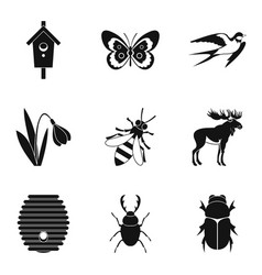 herbivorous icons set simple style vector image vector image