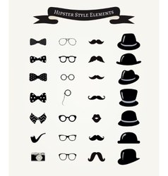 Hipster retro vintage icon set vector