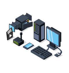 Isometric computer with router and camcorder vector