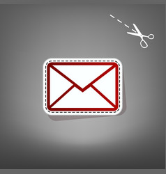 Letter sign red icon with vector