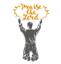 Man worships god symbol of christianity hand drawn vector