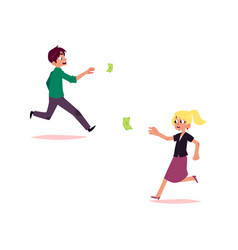 office worker woman man running for money vector image