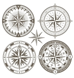 Old sailing marine navigation compass wind rose vector image
