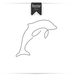 one line dolphin design silhouette vector image vector image