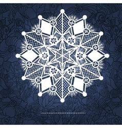 Ornamental winter hand-drawn lace snowflake doodle vector