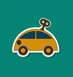 Paper sticker on stylish background kids toy car vector