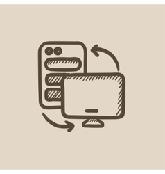 Personal computer set sketch icon vector image