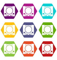 Playstation icon set color hexahedron vector