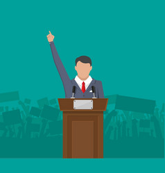 Public speaker on podium in front of a crowd vector