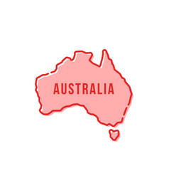 red simple thin line australia cartoon icon vector image vector image