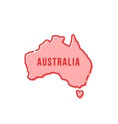 Red simple thin line australia cartoon icon vector