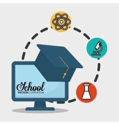 school computer graduation chemical vector image